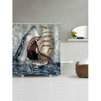 Shark Eat Ship Print Waterproof Shower Curtain - multicolor W71 INCH * L79 INCH
