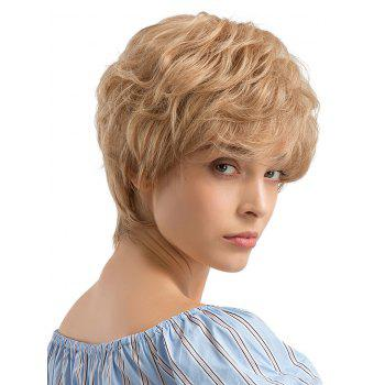 Short Inclined Bang Layer Slightly Curly Human Hair Wig - GOLDENROD