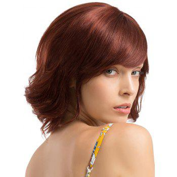 Short Oblique Fringe Slightly Curly Party Human Hair Wig - multicolor