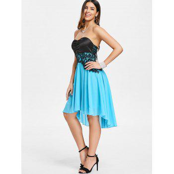Back Lace Up Strapless A Line Dress - LIGHT SKY BLUE M