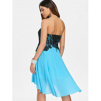 Back Lace Up Strapless A Line Dress - LIGHT SKY BLUE 2XL