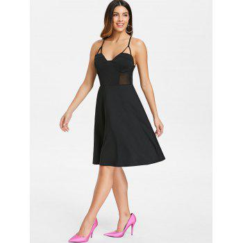 Mesh Panel Back Criss Cross Knee Length Dress - BLACK 2XL