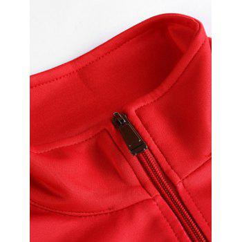 Stand Collar Zip Up Geometric Print Jacket - RED S