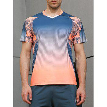 Ombre Geometrical Print Fast Dry Breathable Activewear T-shirt - BLUE JAY M