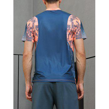 Ombre Geometrical Print Fast Dry Breathable Activewear T-shirt - BLUE JAY XL