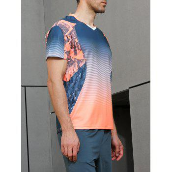 Ombre Geometrical Print Fast Dry Breathable Activewear T-shirt - BLUE JAY 2XL