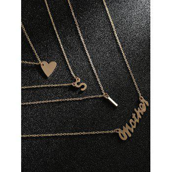 Unique Multi Layers Heart Letter Party Necklace - GOLD