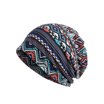 Outdoor Geometric Pattern Open Top Beanie - MIDNIGHT BLUE