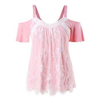 Plus Size Lace Trim Open Shoulder Top - LIGHT PINK 2X
