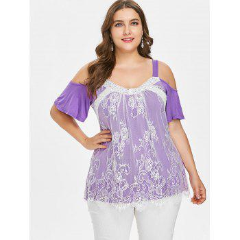 Plus Size Lace Trim Open Shoulder Top - PURPLE 1X