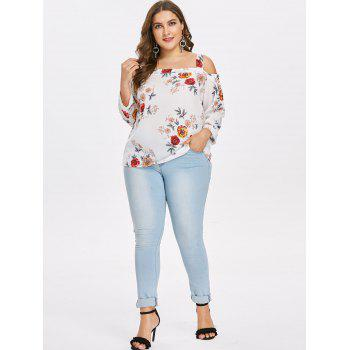 Plus Size Floral Cut Out Shoulder Blouse - WHITE 1X