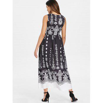 Baroque Print High Waist Long Dress - BLACK 2XL