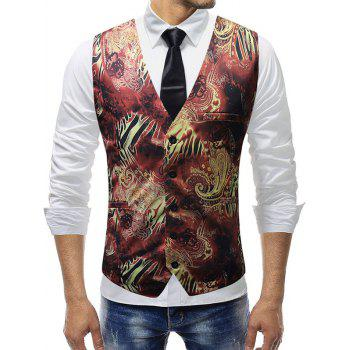 Filigree Print Single Breasted V Neck Waistcoat - BLACK 3XL