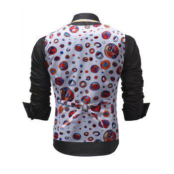Slim Fit Colorful Circle Print Waistcoat - WHITE L