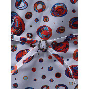 Slim Fit Colorful Circle Print Waistcoat - WHITE 3XL
