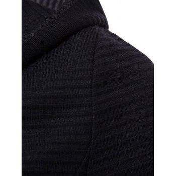 Ribbed Front Triangle Hem Hoodie Cardigan - BLACK 3XL