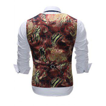 Filigree Print Single Breasted V Neck Waistcoat - BLACK 2XL
