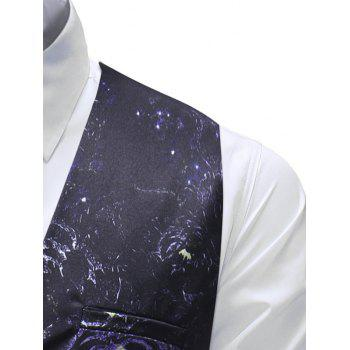 Single-breasted Floral Print Waistcoat - BLACK XL
