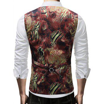 Filigree Print Single Breasted V Neck Waistcoat - BLACK M