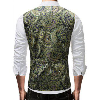 Vintage Floral Print Adjustable Back Buckle Vest - multicolor 2XL