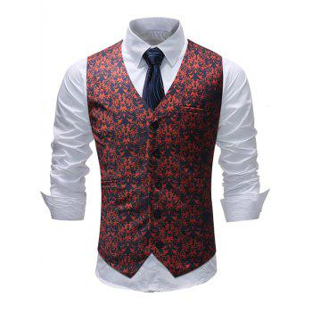 Adjustable Back Buckle Shivering Flower Print Vest - RED M