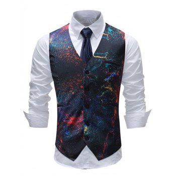 Adjustable Back Buckle Oil Paint Print Vest - multicolor 3XL