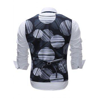 Casual Line Circle Print Vest - BLACK XL