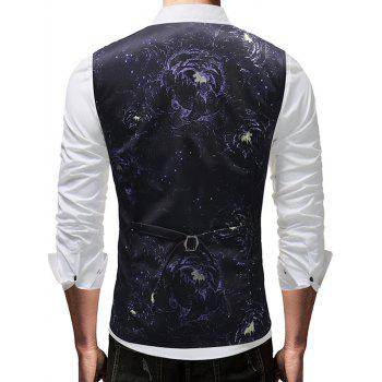 Single-breasted Floral Print Waistcoat - BLACK 3XL