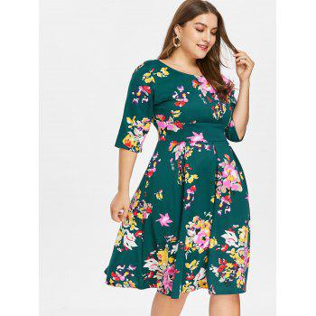 Plus Size Fit and Flare Print Dress - DEEP GREEN 2X