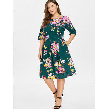 Plus Size Fit and Flare Print Dress - DEEP GREEN 4X