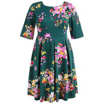 Plus Size Fit and Flare Print Dress - DEEP GREEN 5X