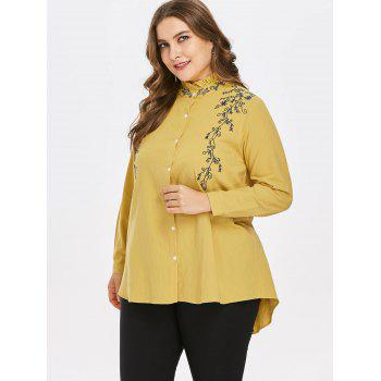 Plus Size Embroidered Mock Neck Blouse - YELLOW 1X
