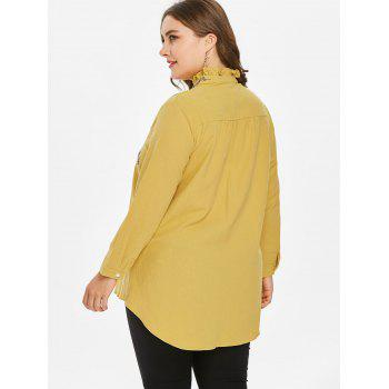 Plus Size Embroidered Mock Neck Blouse - YELLOW 4X