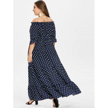 Plus Size Polka Dot Floor Length Dress - MIDNIGHT BLUE 3X