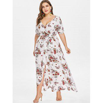 Plus Size Floor Length Dress with Belt - MILK WHITE 3X