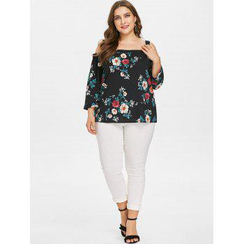 Plus Size Floral Cut Out Shoulder Blouse - BLACK 1X