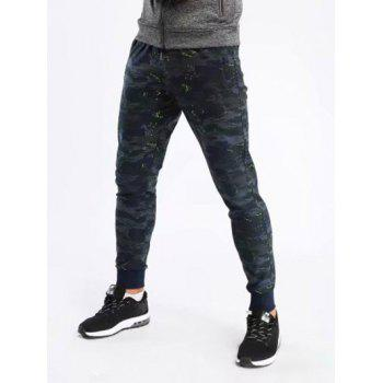 Stretchy Camo Print Gym Jogger Pants - DARK FOREST GREEN L