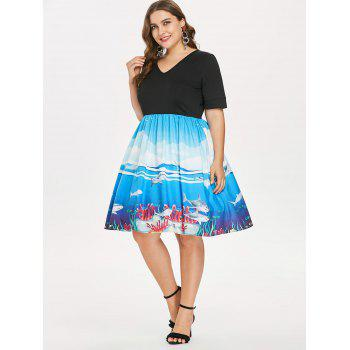 Plus Size V Neck Retro Swing Dress - BLACK 5X