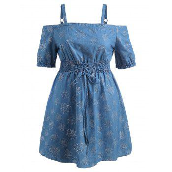 Lace Up Plus Size Rose Print Mini Dress - DENIM BLUE L