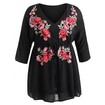 Plus Size Drawstring Embroidery Mini Dress - BLACK 3X