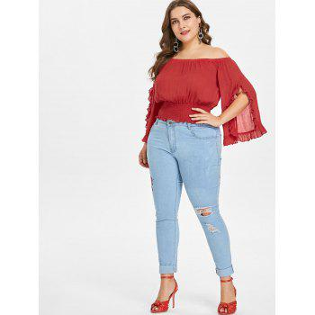 Plus Size Split Sleeve Frills Top - LOVE RED 4X
