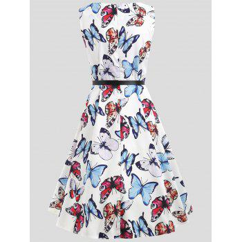 Fit and Flare Butterfly Pattern Dress - WHITE S