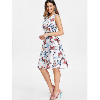 Fit and Flare Butterfly Pattern Dress - WHITE M