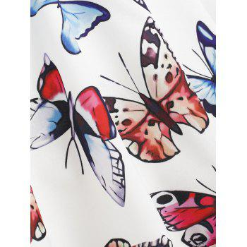 Fit and Flare Butterfly Pattern Dress - WHITE XL