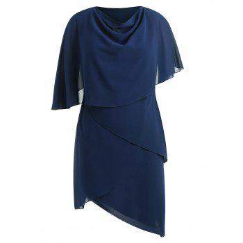 Plus Size Cowl Neck Capelet Dress - CADETBLUE 3X
