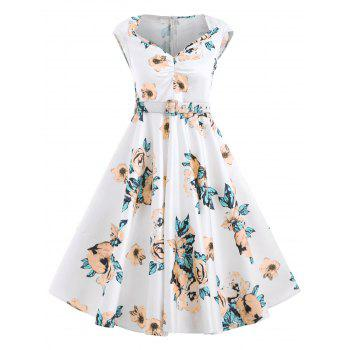 Retro Floral Printed Fit and Flare Dress - WHITE M