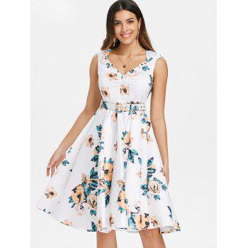 Retro Floral Printed Fit and Flare Dress - WHITE L