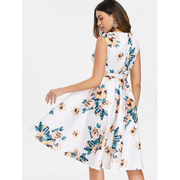 Retro Floral Printed Fit and Flare Dress - WHITE S