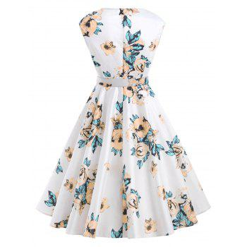 Retro Floral Printed Fit and Flare Dress - WHITE XL