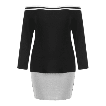 Plus Size Off Shoulder Tee and Skirt - BLACK 1X